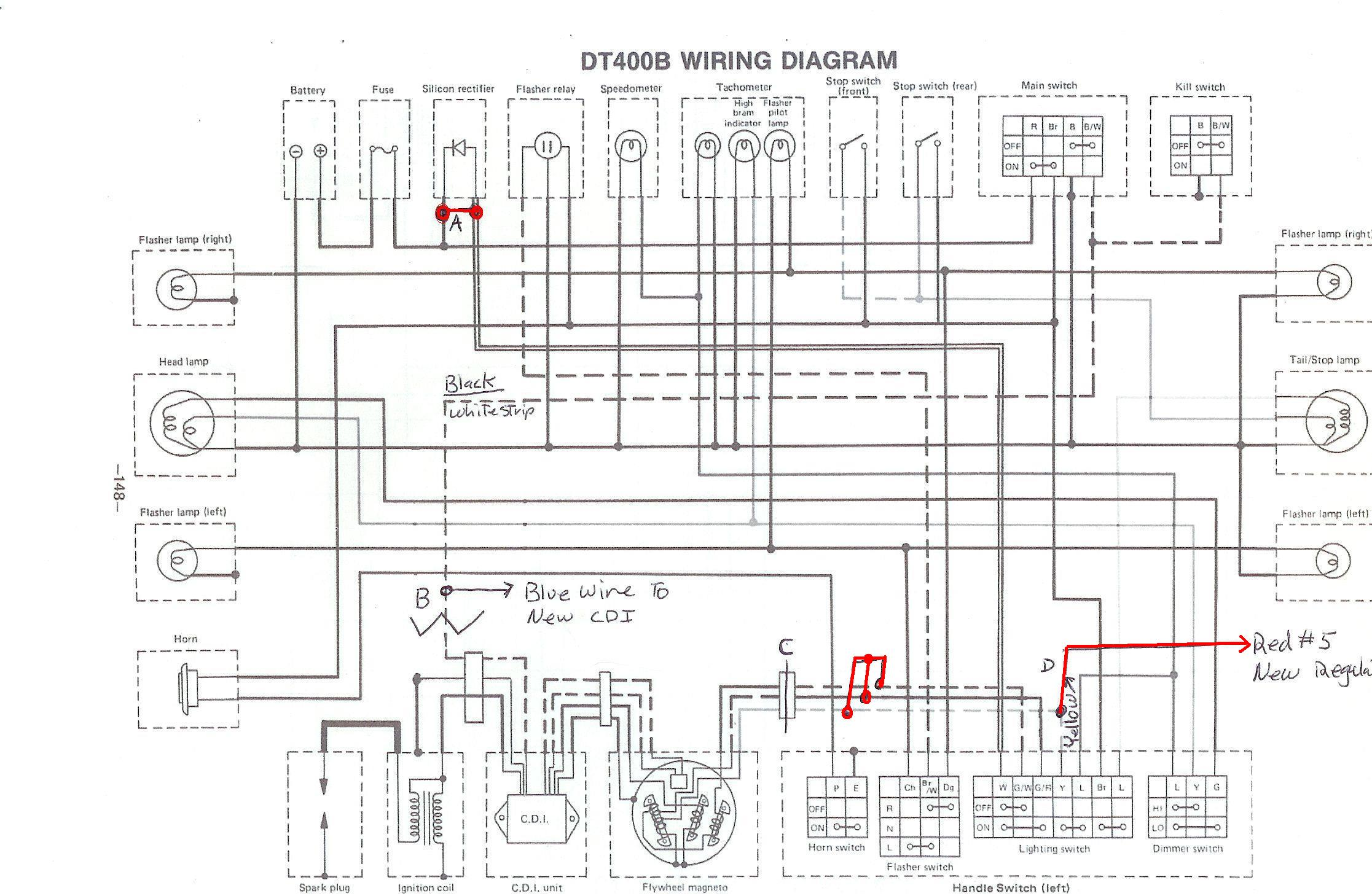 dt400wire powerdynamo for yamaha dt1 2 3, rt1 2 3, dt250 360 400, ty250, yza250 yamaha dt250 wiring diagram at eliteediting.co