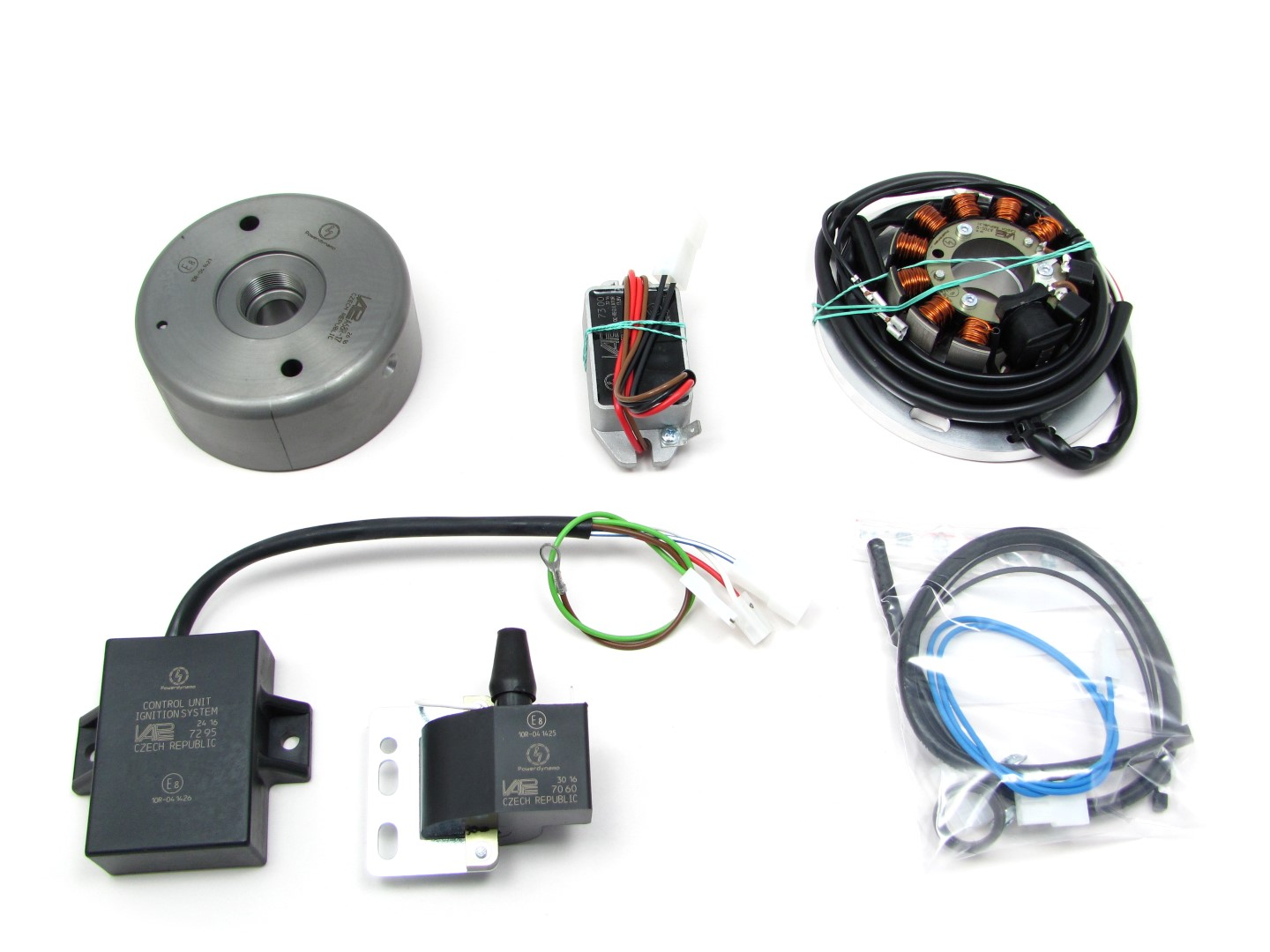 magnet based generator with integrated solid state ignition  replaces all  original generator and ignition parts  updates your system to 12v/180w dc
