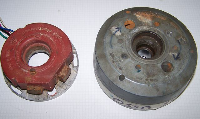 Powerdynamo for ossa 250350 pull the rotor off you will need a puller for this unscrew the old stator and take it off the engine cheapraybanclubmaster Image collections